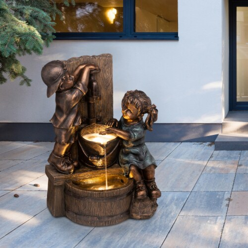 Glitzhome Boy and Girl Polyresin Sculptural Outdoor Fountain With Pump Perspective: top