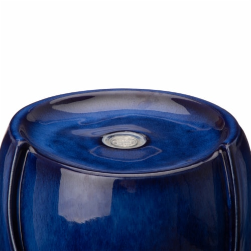 Glitzhome Ceramic Outdoor Fountain with Pump and LED Light - Cobalt Blue Perspective: top