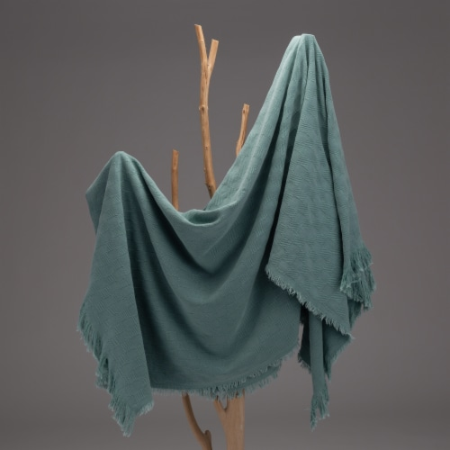 Glitzhome Checked Cotton Oven Tassel Throw Blanket - Olive Green Perspective: top