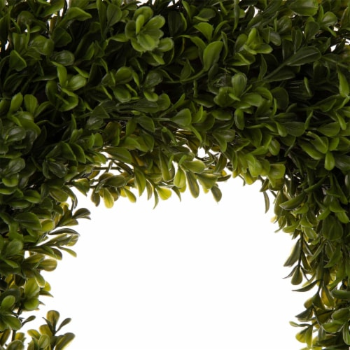 Glitzhome Boxwood Wreath & Wooden Window Frame Decoration Perspective: top
