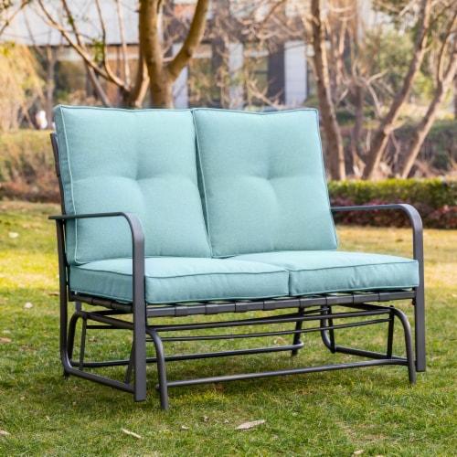 Glitzhome Outdoor Patio Garden Loveseat Glider Chair - Blue Perspective: top