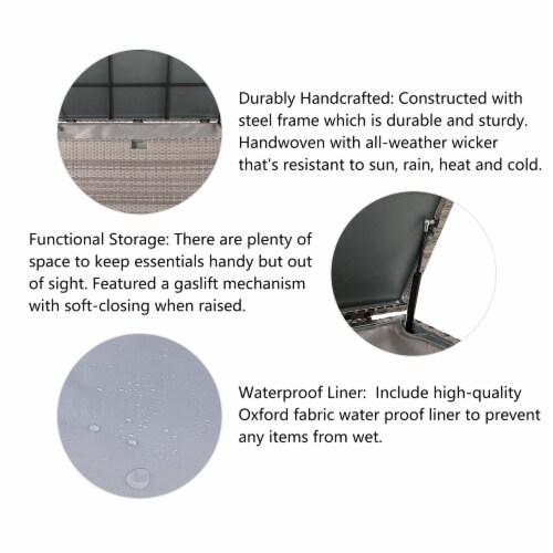 Glitzhome Outdoor Patio Garden Wicker Storage Deck Box - Gray / Cream Perspective: top