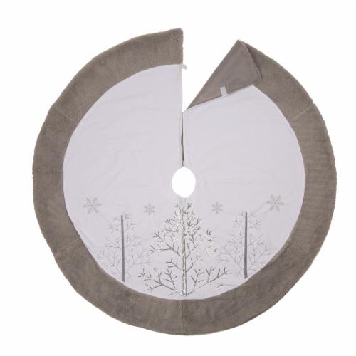 Glitzhome Fleece Christmas Tree Skirt - White/Gray Perspective: top