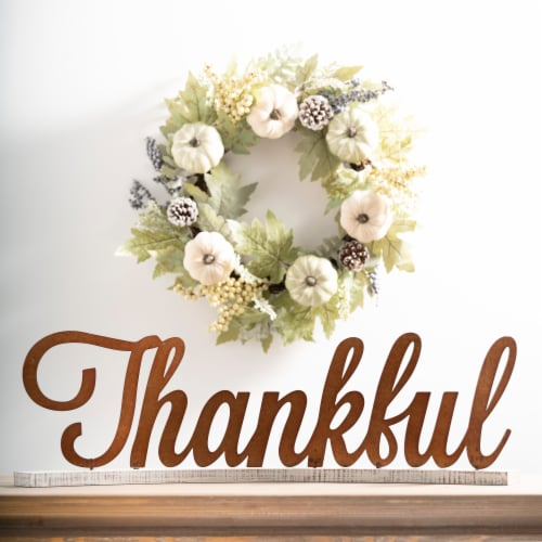 Glitzhome Vintage Style Wooden & Metal Thankful Fall Decoration Perspective: top