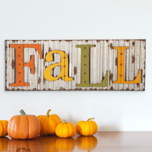 Glitzhome Fall Metal Sign Wall Decoration Perspective: top