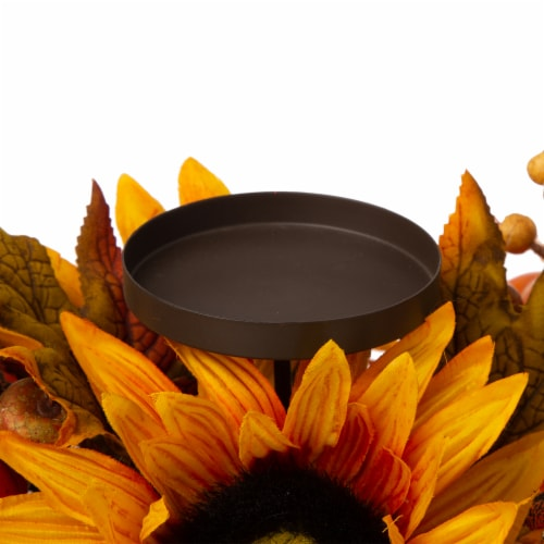 Glitzhome Sunflower Floral Metal Candle Holder Center Piece Perspective: top