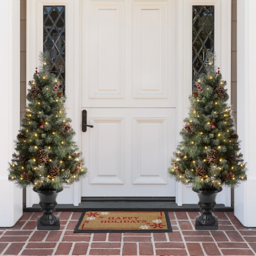 Glitzhome Flocked Christmas Tree with Warm White Lights Perspective: top