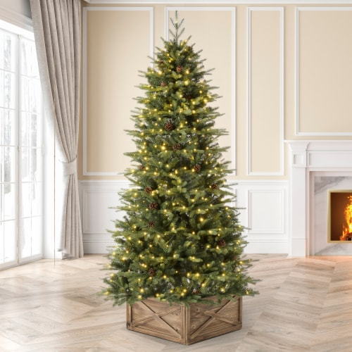 Glitzhome Artificial Fir Christmas Tree with Multicolor LED Lights - Green Perspective: top