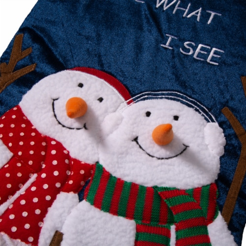 Glitzhome Velvet Do You See What I See Snowmen Oversized Stocking Perspective: top