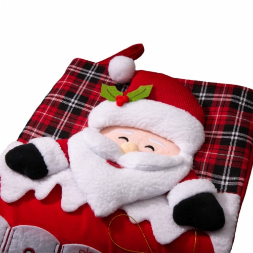 Glitzhome Oversized Count Down Santa Stocking Perspective: top