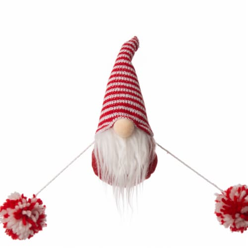Glitzhome Fabric Gnome Gardland Christmas Decor - Red / White Perspective: top