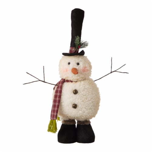 Glitzhome Telescoped Fabric Christmas Snowman Standing Decor Perspective: top