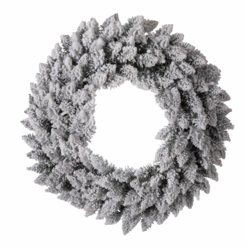 Glitzhome Pre-Lit Warm White LED Snow Flocked Christmas Wreath Perspective: top