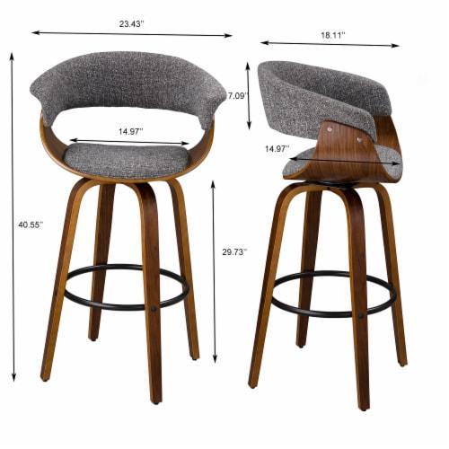 Glitzhome Mid-Century Modern Walnut Swivel Bar Stool Perspective: top