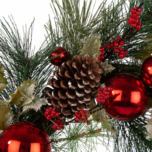 Glitzhome Pinecone & Ornament Wreath with LED Lights - Red Perspective: top