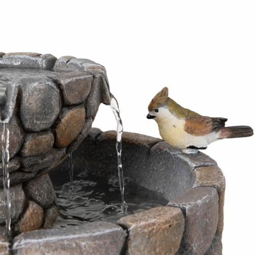 Glitzhome 2 Tier Stone-Like Birdbath Outdoor Fountain Perspective: top