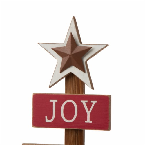 Glitzhome Wooden Christmas Tree Table Decoration Sign Perspective: top