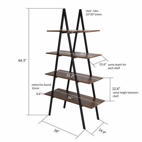 Glitzhome Metal & Wooden 4-Tier Bookcase and Ladder Shelves - Black / Walnut Perspective: top