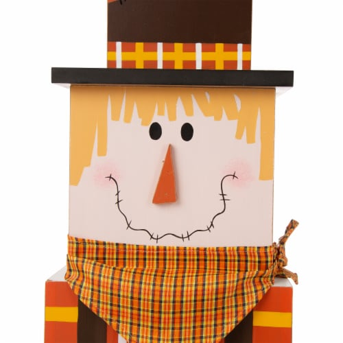 Glitzhome Wooden Double-Sided Snowman/Scarecrow Porch Decor Perspective: top