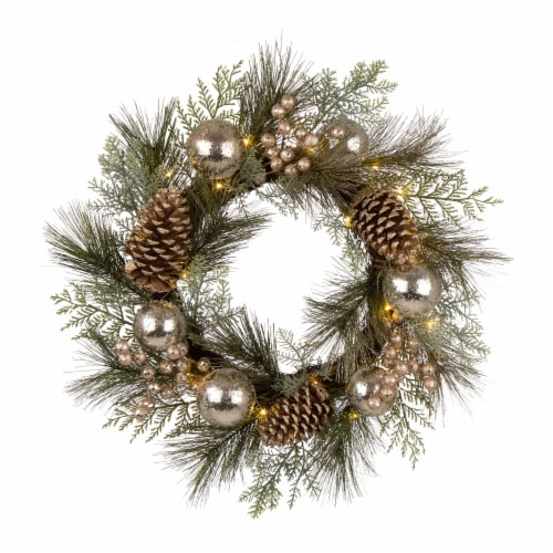 Glitzhome Wooden Window Frame & Pre-Lit LED Pinecone & Ornament Wreath Perspective: top