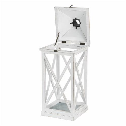 Glitzhome Farmhouse Whitewash Modern Wodden/Metal Lanterns Perspective: top