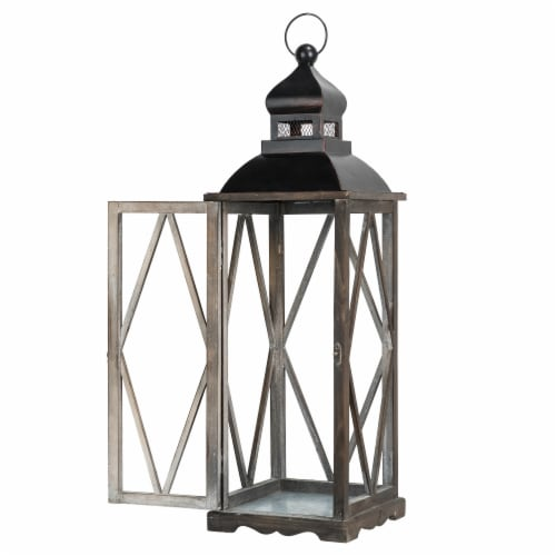 Glitzhome Farmhouse Wooden Lanterns with Diamond Window Frames - Black Perspective: top