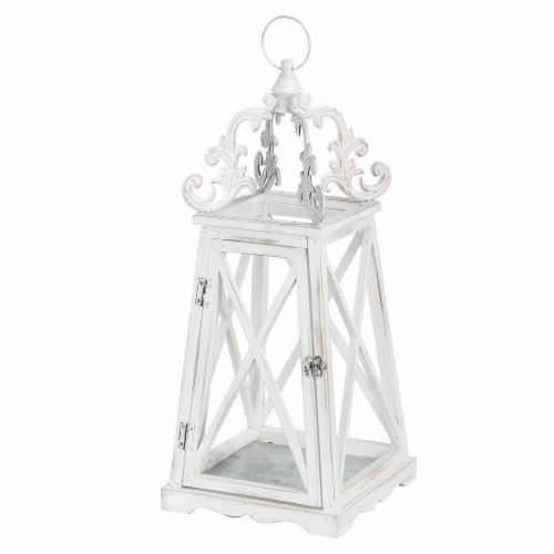 Glitzhome Farmhouse Whitewash Modern Wooden Lanterns with 3D Metal Lace Top Perspective: top