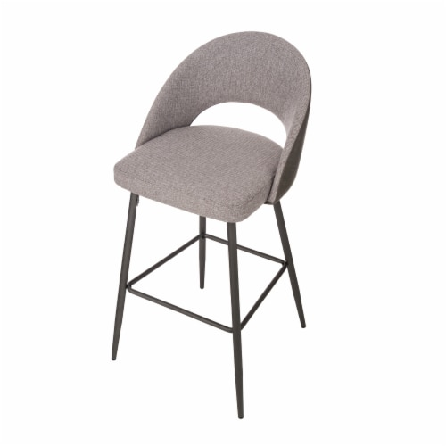 Glitzhome Fabic/Leatherette Bar Stool with Tapered Metal Legs - Dark Gray Perspective: top