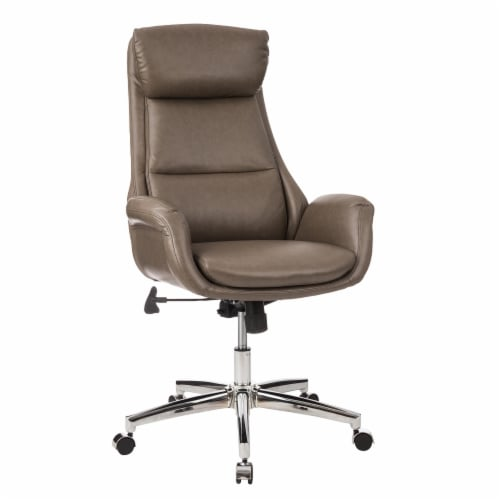 Glitzhome Mid-Century Modern Leatherette Adjustable Swivel High Back Office Chair - Brownish Gray Perspective: top