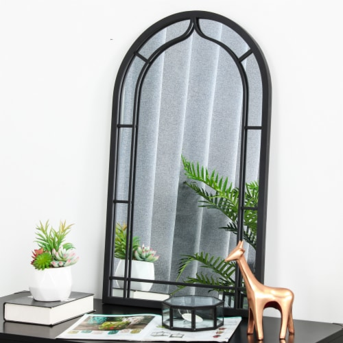 Glitzhome Oversized Metal/Glass Arched Wall Mirror - Black Perspective: top