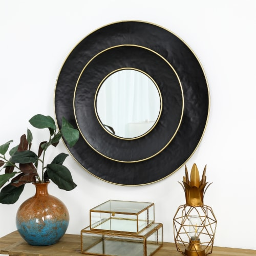 Glitzhome Round Metal Wall Mirror - Black/Gold Perspective: top
