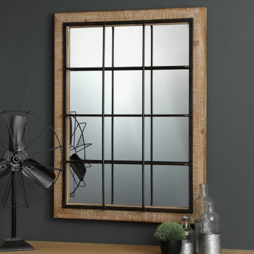 Glitzhome Farmhouse Wooden/Metal Windowpane Classic Wall Mirror Perspective: top