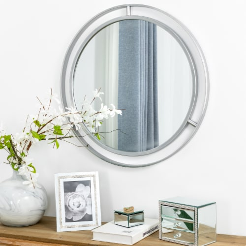 Glitzhome Modern Deluxe Round Metal Classic Wall Mirror - Silver Perspective: top