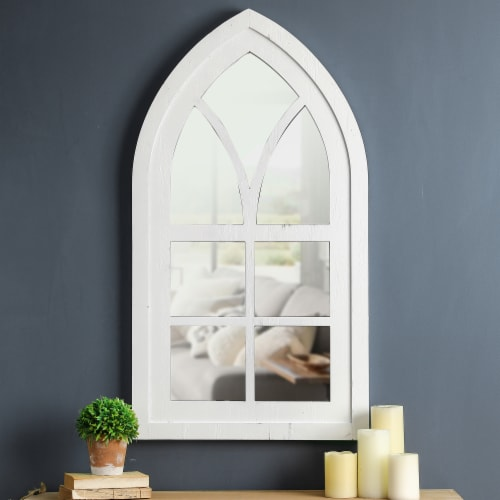 Glitzhome Whitewash Wooden Cathedral Windowpane Wall Mirror Decor Perspective: top