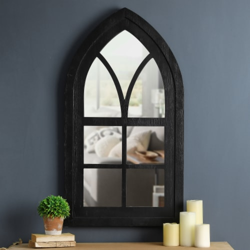 Glitzhome Wooden Cathedral Windowpane Wall Mirror Decor - Black Perspective: top