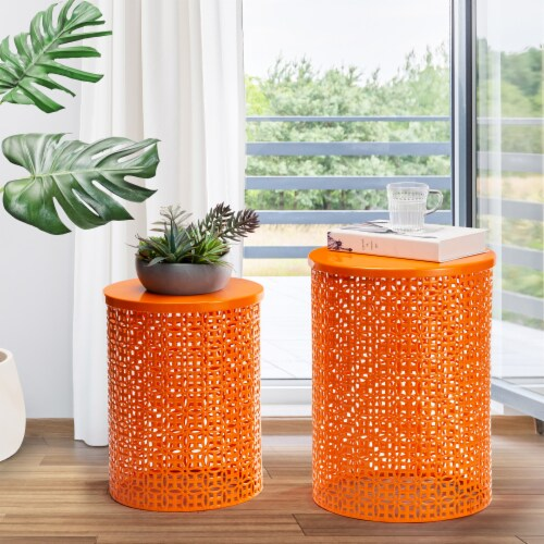 Glitzhome Metal Multi-Functional Garden Stool Plant Stands - Orange Perspective: top