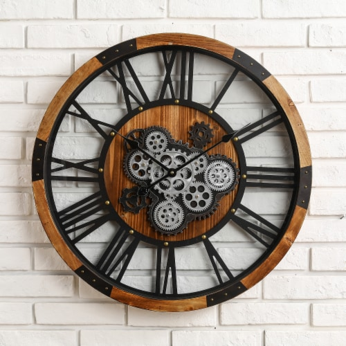 Glitzhome Industrial Wooden/Metal Round Gear Wall Clock Perspective: top