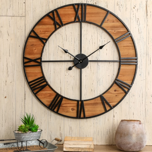 Fry S Food Stores Glitzhome Farmhouse Oversized Black Wooden Metal Wall Clock 30 In