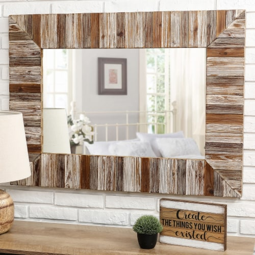 Glitzhome Farmhouse Rectangle Wooden Frame Wall Mirror Perspective: top