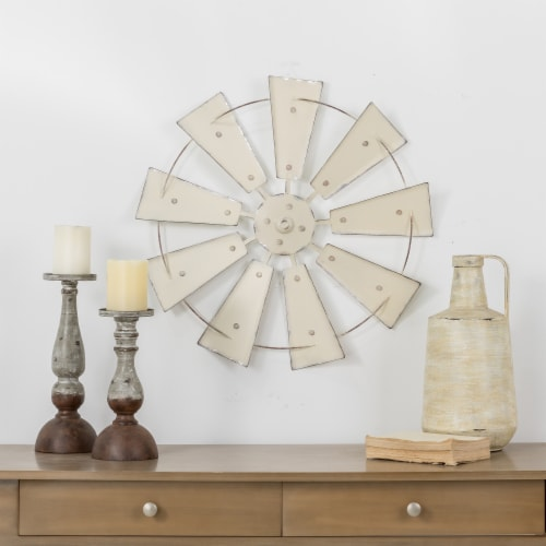 Glitzhome Metal Wind Spinner Wall Decor - Beige Perspective: top
