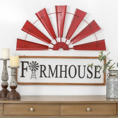 Glitzhome Vintage Farmhouse Half Wind Spinner Wall Decoration - Red Perspective: top
