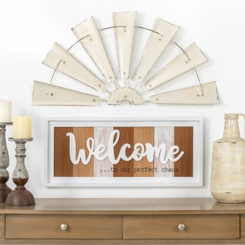 Glitzhome Vintage Farmhouse Half Wind Spinner Wall Decor - Beige Perspective: top