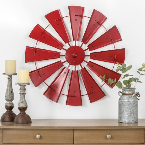 Glitzhome Vintage Metal Wind Spinner Wall Decoration - Red Perspective: top