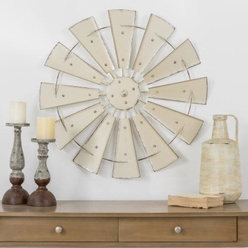 Glitzhome Farmhouse Vintage Metal Wind Spinner Wall Decor - Beige Perspective: top