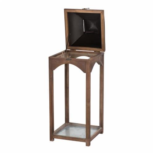Glitzhome Farmhouse Modern Wood/Metal Lanterns - Whiskey Brown Perspective: top