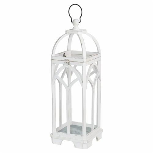 Glitzhome Farmhouse White Wood Church Windowframe Lanterns Perspective: top