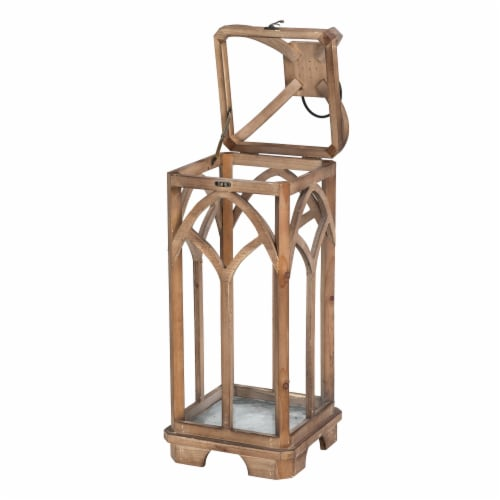 Glitzhome Farmhouse Natural Wooden Church Window Lanterns Perspective: top