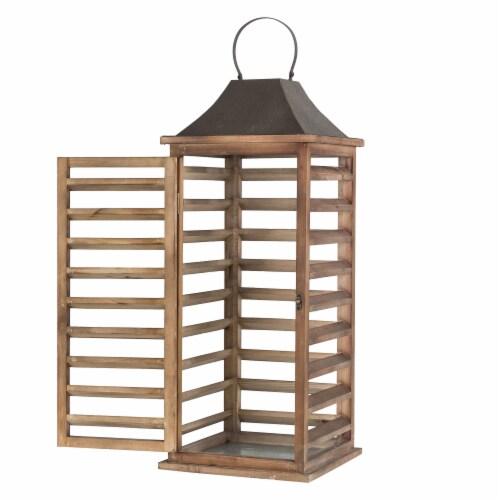 Glitzhome Farmhouse Natural Wooden Shutter Lanterns Perspective: top