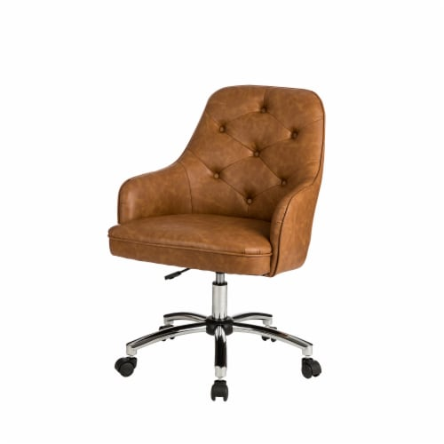Glitzhome Bonded Leather Gaslift Adjustable Swivel Desk Chair - Caramel Perspective: top