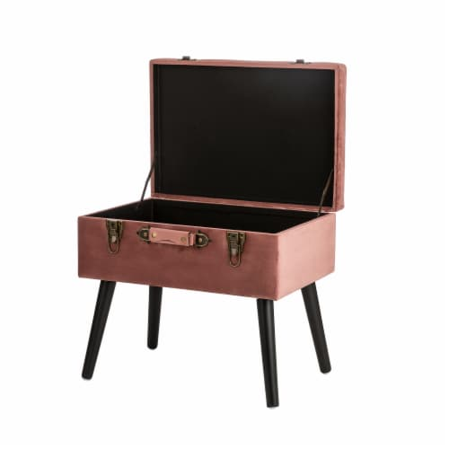 Glitzhome Velvet & Wooden Upholstered Storage Stool - Pink Clay Perspective: top